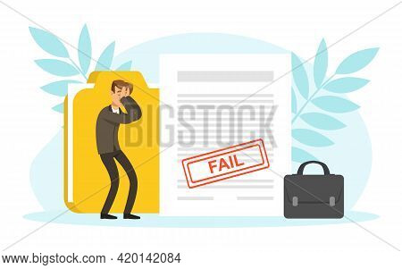 Frustrated Stressed Businessman Character, Business Failure, Economic Risk, Bankruptcy Concept Vecto