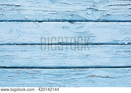 Blue Wood Structure Texture. Cracked Wooden Pattern. Plank Background. Natural Wood Board. Dry Tree