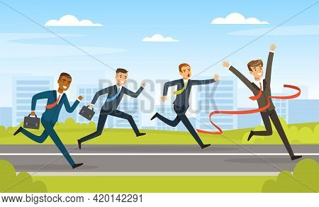 Group Of Businessmen Running To Finish Line, Business Competition, Leadership, Path To Success Vecto