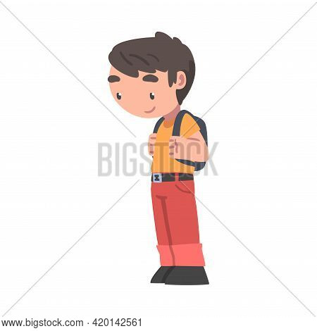 Little Boy With Backpack Standing And Looking At Something With Interest Vector Illustration