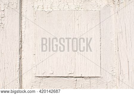 White Wood Structure Texture Of Old House. Cracked Wooden Pattern. Plank Background. Natural Wood Bo
