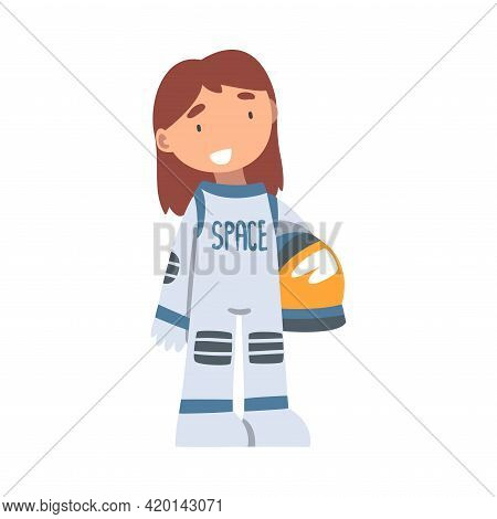 Smiling Girl Wearing Spacesuit Playing Pretending Being Astronaut Vector Illustration