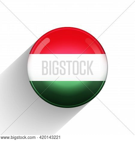 Glass Light Ball With Flag Of Hungary. Round Sphere, Template Icon. Hungarian National Symbol. Gloss