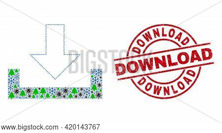 Winter Covid-2019 Composition Download, And Scratched Download Red Round Stamp. Mosaic Download Is C