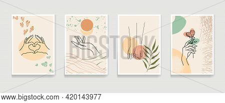 A Set Of Vertical Layouts In A4 Format With Different Hand Gestures On Abstract Background Spots. Ab