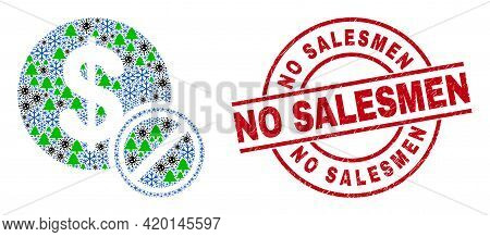 Winter Covid Composition Priceless, And No Salesmen Red Round Watermark. Collage Priceless Is Design