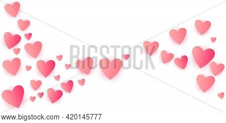 Pink Flying Hearts Bright Love Passion Vector Background. Amour Icons Backdrop. Cartoon Confetti Lov
