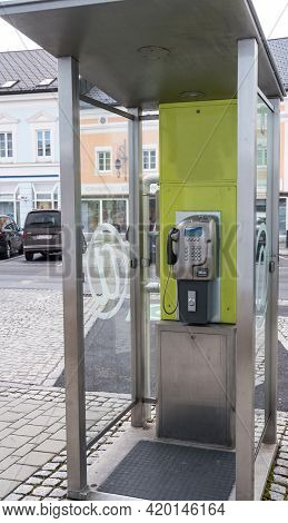 Pay Phone At Public Telephone Booth With Landline - Telephone Booth