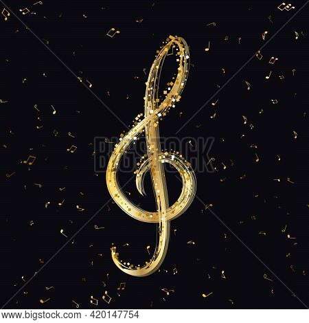 Luxury Gold Treble Clef Of The Stellar Against On Flying Random Golden Notes. Beautiful Musical Nota