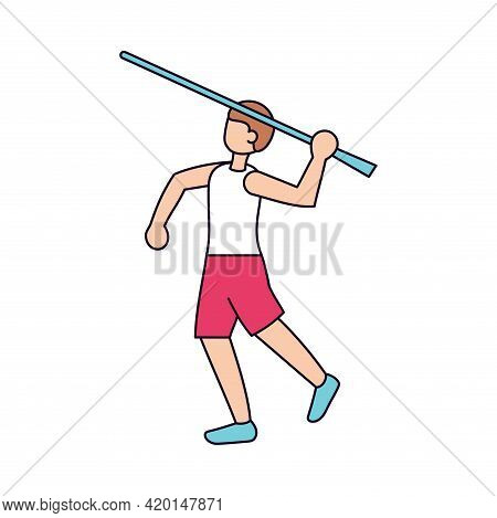 Isolated Male Character Icon Throwing A Javelin Vector Illustration