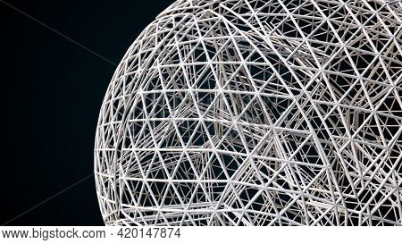 Geometric 3d Render Mesh With Intricate Layered Connections. Digital Surface Of Atom Made Grid Trian
