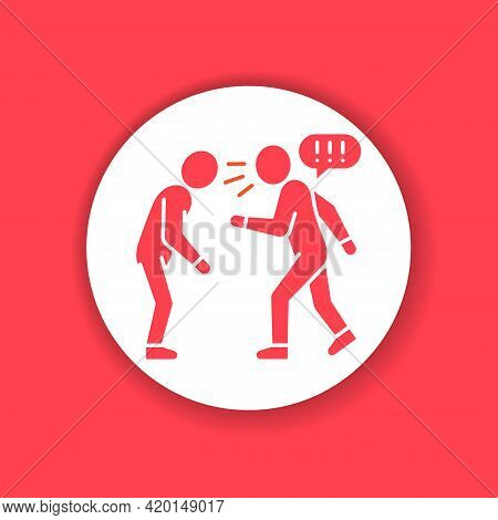 Verbal Bullying Red Glyph Icon. Harassment, Social Abuse And Violence. Sign For Web Page, Mobile App