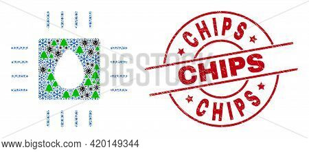 Winter Covid-2019 Collage Liquid Processor, And Rubber Chips Red Round Stamp Imitation. Collage Liqu
