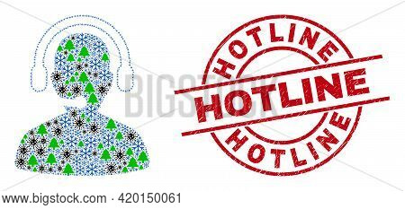 Winter Pandemic Collage Call Center Operator, And Rubber Hotline Red Round Stamp Print. Collage Call