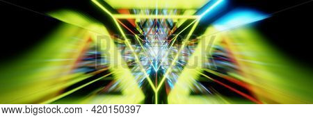 Abstract Acceleration Speed Motion Through Light Tunnel. Technology Background, 3d Render. Wide Bann