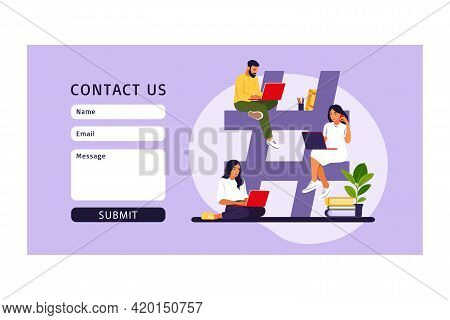 Hashtag Social Media Concept. Young People Customer Sending Posts And Sharing. Landing Page Template