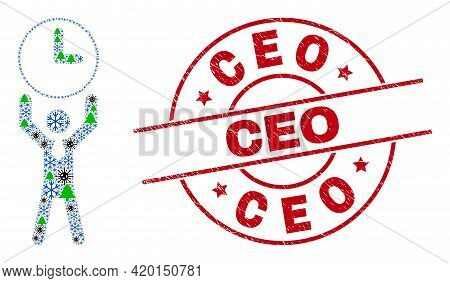 Winter Coronavirus Collage Time Manager, And Rubber Ceo Red Round Stamp. Collage Time Manager Is Con