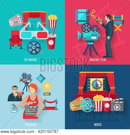 Movie Making And Premiere Icons Set With 3d Cinema Film Stars And Director Flat Isolated Vector Illu