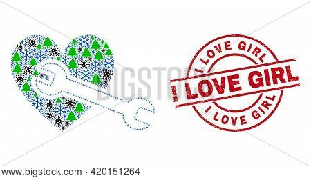 Winter Coronavirus Collage Heart Repair Wrench, And Unclean I Love Girl Red Round Stamp Seal. Collag