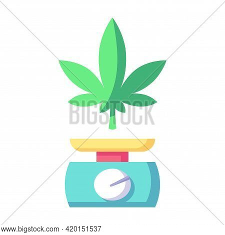 Isolated Cannabis Leaf With A Weighing Machine Vector Illustration