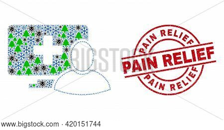 Winter Covid Collage Computer Patient, And Distress Pain Relief Red Round Stamp Print. Collage Compu