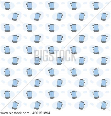 Pattern From Modern Stylish Colored Teapots. Vector Illustration