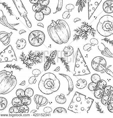 Vector Background With Cheese, Tomato, Pepper, Thyme, Basil, Garlic, Mushrooms, Onion.
