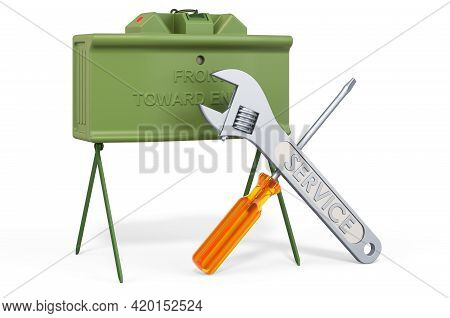 Service Of Anti-personnel Mine. 3d Rendering Isolated On White Background