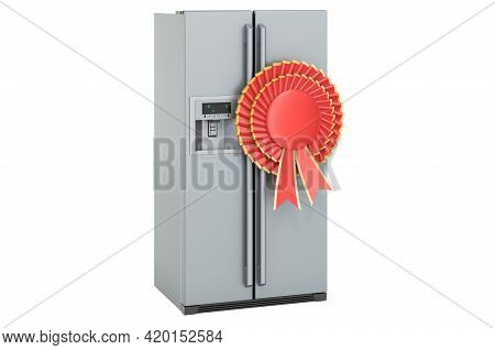 Double Door Fridge, Refrigerator With Side-by-side Door System With Best Choice Badge, 3d Rendering
