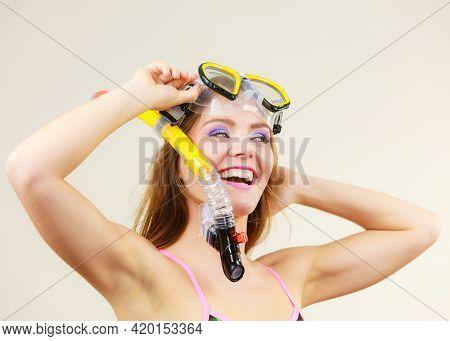 Woman Wearing Swimsuit With Snorkeling Mask Having Fun Studio Shot, Happy Joyful Girl Dreaming About