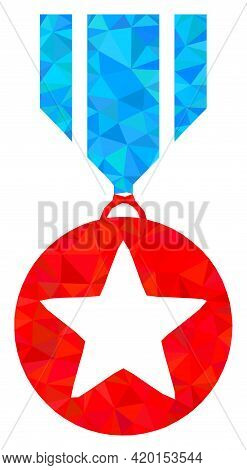 Triangle Star Medal Polygonal Symbol Illustration. Star Medal Lowpoly Icon Is Filled With Triangles.