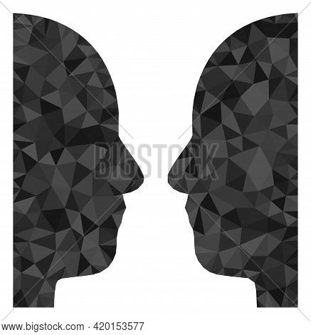 Triangle Dual Face Polygonal Symbol Illustration. Dual Face Lowpoly Icon Is Filled With Triangles. F