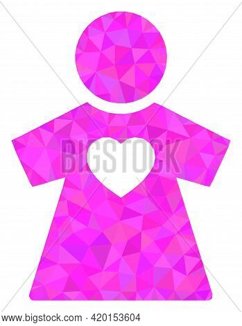Triangle Girlfriend Polygonal Icon Illustration. Girlfriend Lowpoly Icon Is Filled With Triangles. F