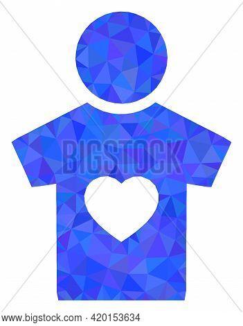 Triangle Boyfriend Polygonal Symbol Illustration. Boyfriend Lowpoly Icon Is Filled With Triangles. F