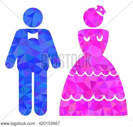 Triangle Wedding Pair Polygonal Icon Illustration. Wedding Pair Lowpoly Icon Is Filled With Triangle