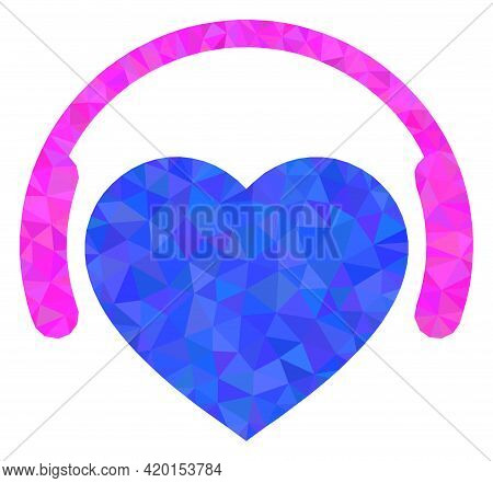 Triangle Favourite Headphones Polygonal Icon Illustration. Favourite Headphones Lowpoly Icon Is Fill