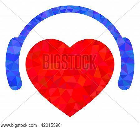 Triangle Romantic Heart Dj Polygonal Icon Illustration. Romantic Heart Dj Lowpoly Icon Is Filled Wit