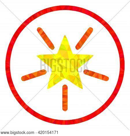 Triangle Rounded Shine Star Polygonal Icon Illustration. Rounded Shine Star Lowpoly Icon Is Filled W