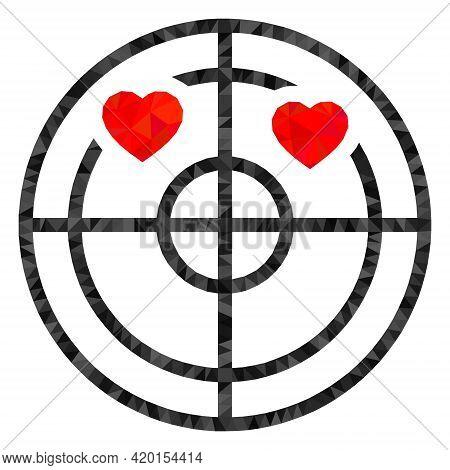 Triangle Love Hearts Radar Polygonal Symbol Illustration. Love Hearts Radar Lowpoly Icon Is Filled W