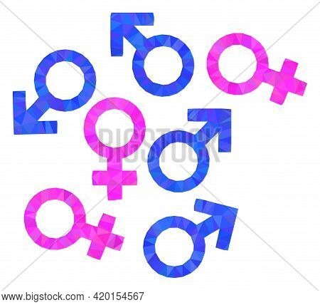 Triangle Gender Symbols Polygonal Icon Illustration. Gender Symbols Lowpoly Icon Is Filled With Tria