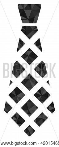 Triangle Checkered Tie Polygonal Icon Illustration. Checkered Tie Lowpoly Icon Is Filled With Triang