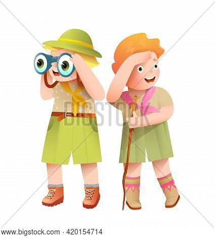 Boy Scout And Girl Scout Characters Illustration For Kids. Boy Scout Looking Excited Through Binocul