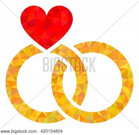 Triangle Wedding Rings Polygonal Symbol Illustration. Wedding Rings Lowpoly Icon Is Filled With Tria