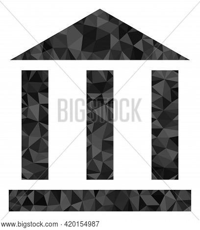 Triangle Library Building Polygonal Symbol Illustration. Library Building Lowpoly Icon Is Filled Wit