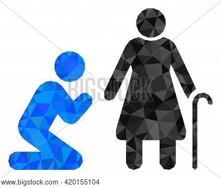Triangle Man Pray For Grandmother Polygonal Icon Illustration. Man Pray For Grandmother Lowpoly Icon
