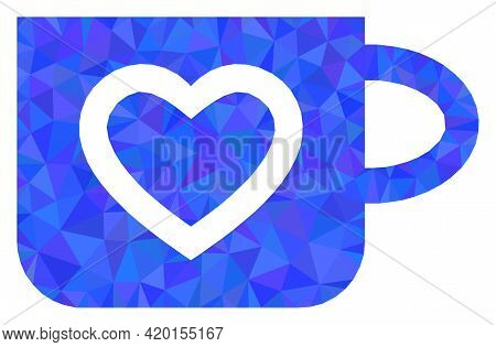 Triangle Favourite Cup Polygonal Symbol Illustration. Favourite Cup Lowpoly Icon Is Filled With Tria