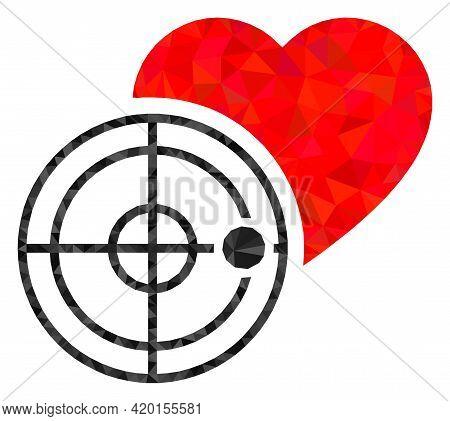 Triangle Love Heart Radar Polygonal Symbol Illustration. Love Heart Radar Lowpoly Icon Is Filled Wit