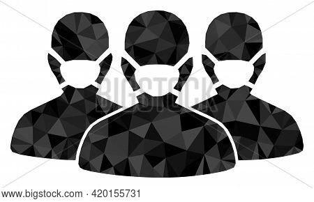 Triangle Mask People Group Polygonal Symbol Illustration. Mask People Group Lowpoly Icon Is Filled W