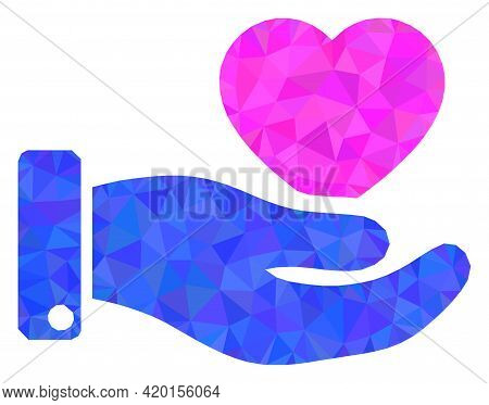 Triangle Favourite Heart Offer Hand Polygonal Symbol Illustration. Favourite Heart Offer Hand Lowpol
