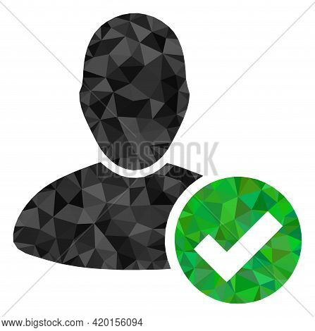 Triangle Valid User Polygonal Symbol Illustration. Valid User Lowpoly Icon Is Filled With Triangles.